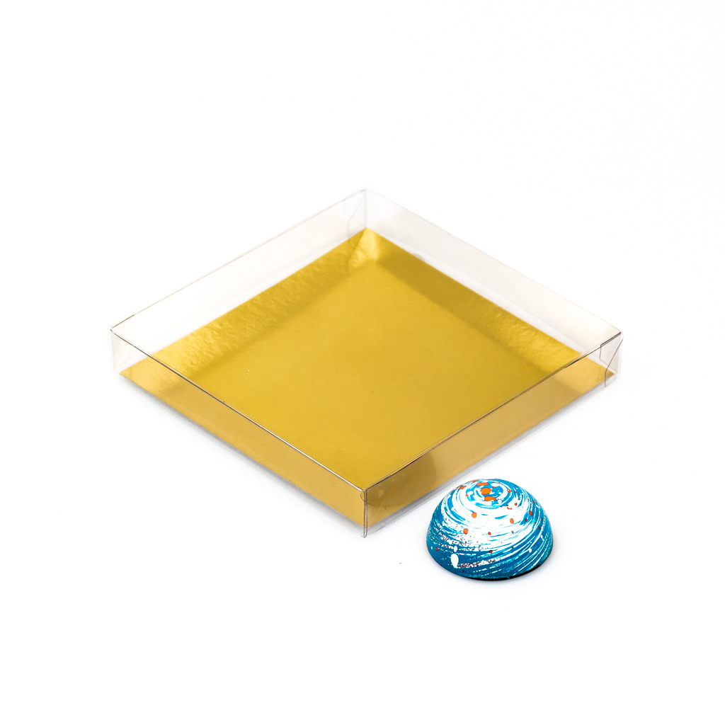 Transparant Boxes with gold carton - 120*120*20mm - 150 pieces