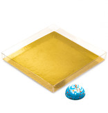 Boîtes Transparant avec interieur or  - 16* 16* 2 cm -35 pièces