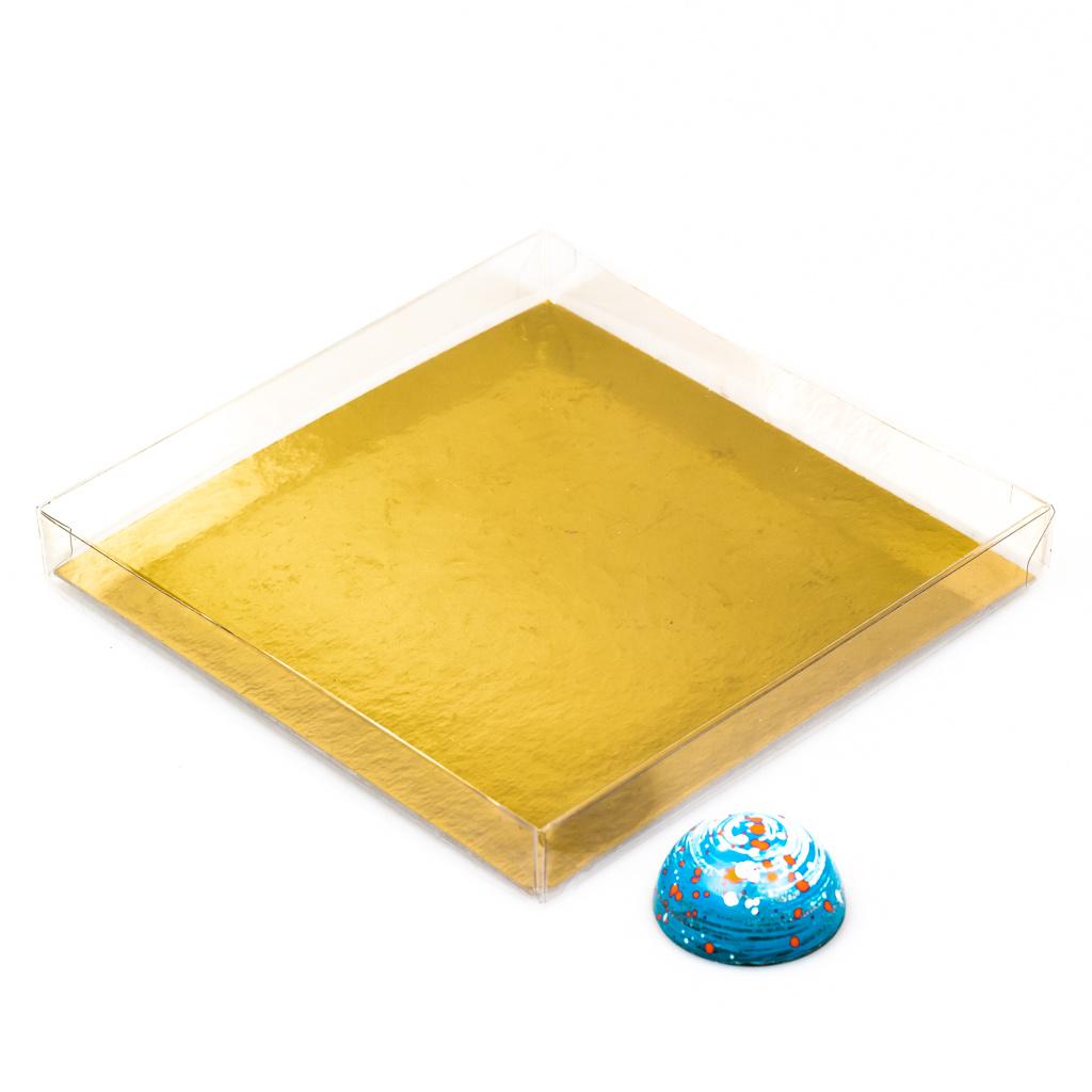 Transparanten Schachteln mit Gold Einsatz - 16* 16* 2 cm - 35 Stück