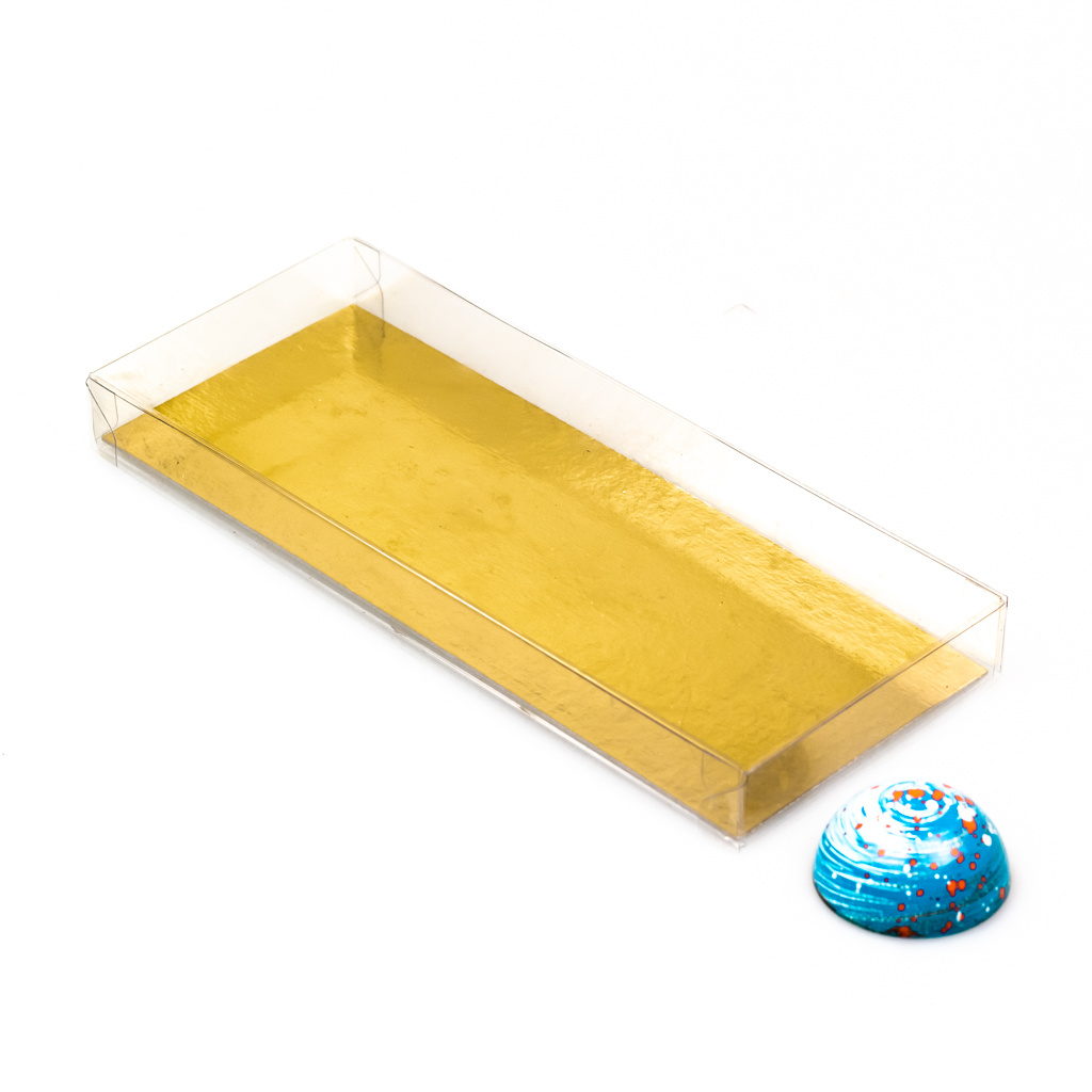 Transparant Boxes with gold carton - 200*80*21mm - 100 pieces