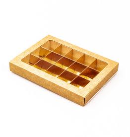 Boîte kraft avec interiéur pour 15 pralines avec
