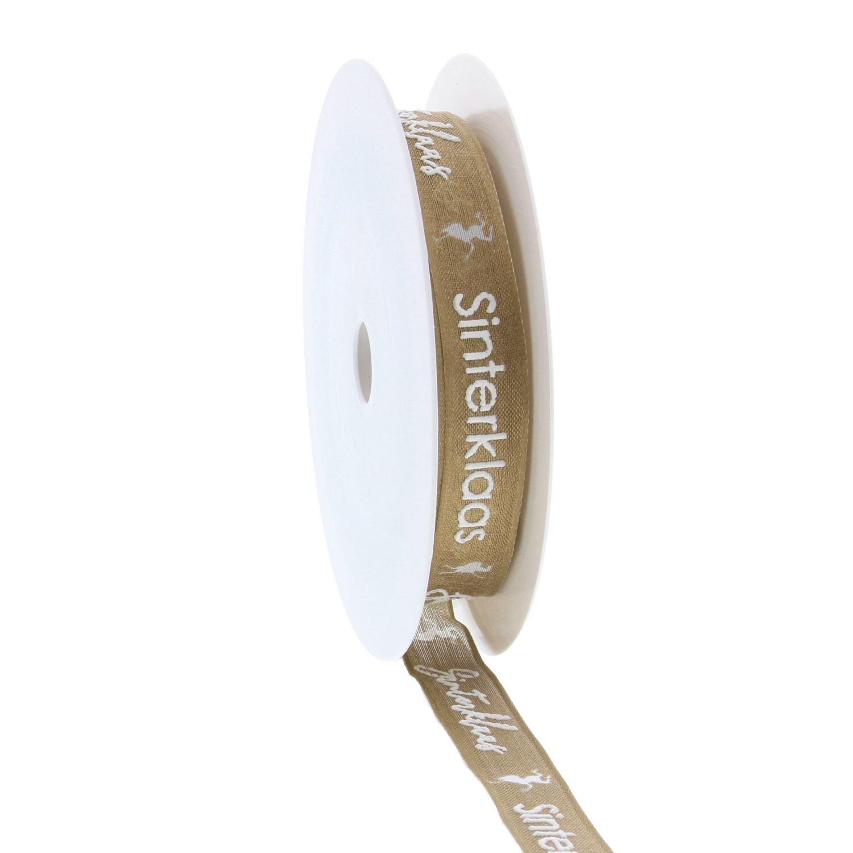 "Wired ribbon Saint Nicholas ""Vintage"" puff - Gold - 15mm*20m"
