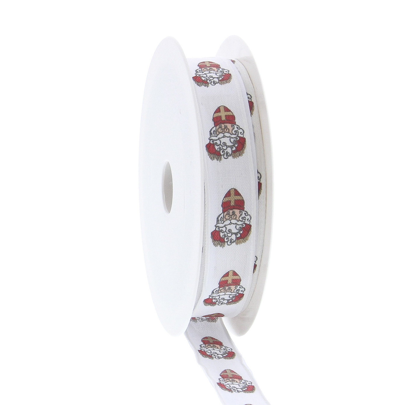 """Wired ribbon Saint Nicholas """"Vintage"""" figure - White - Available in widths of 15mm and 25mm - 20m per roll"""