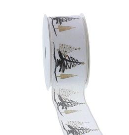 "Wired ribbon ""Tree-o Enjoy Winter"" 40mm - Gold"