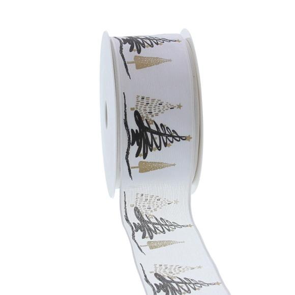 "Wired ribbon ""Tree-o Enjoy Winter"" - Gold - 40mm*20m"