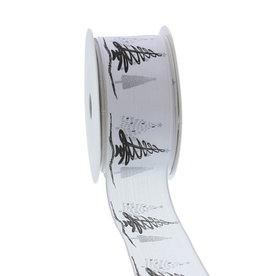 "Wired ribbon ""Tree-o Enjoy Winter"" 40mm - Silver"