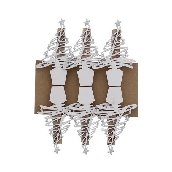 """""""Tree-O"""" klammer Weiß mit Silber  -  85*55*15 mm  - 36 Stück"""