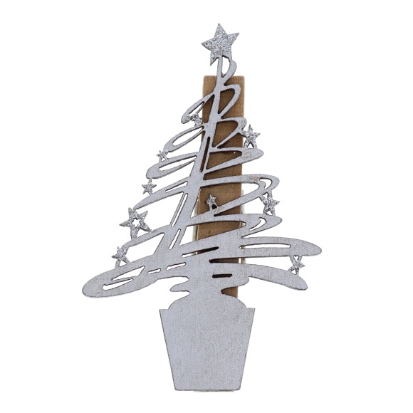 """Pince """"Tree-O"""" Argent   -  85*55*15 mm  - 36 pièces"""