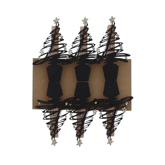 """""""Tree-o"""" knijper Zwart met Goud  - 85*55*15 mm - 36 stuks"""
