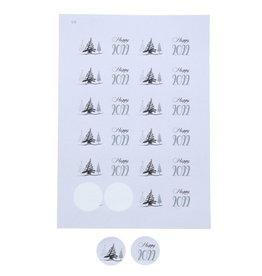 "Sticker 4 cm ""Tree-O""  Grijs"