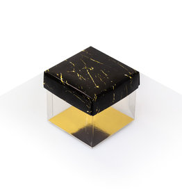 Cubebox - Transparant met zwart & goud marmer look