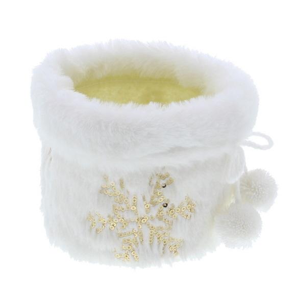 """Korb """"Plush"""" mit Eiskristallen Gold Klein -  110*145*145 mm - 8 Stück"""