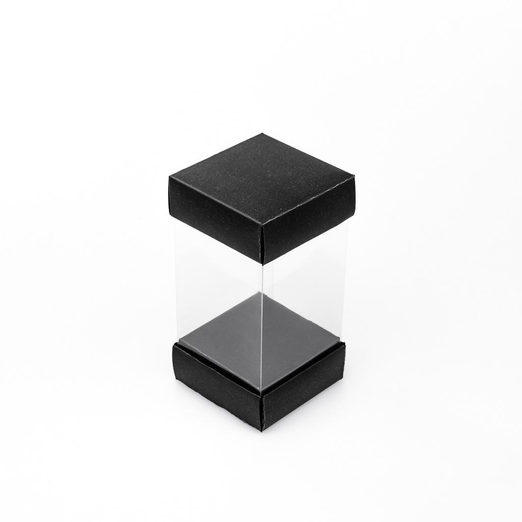 Transparant hoog doosje - Mat zwart - 25 stuks