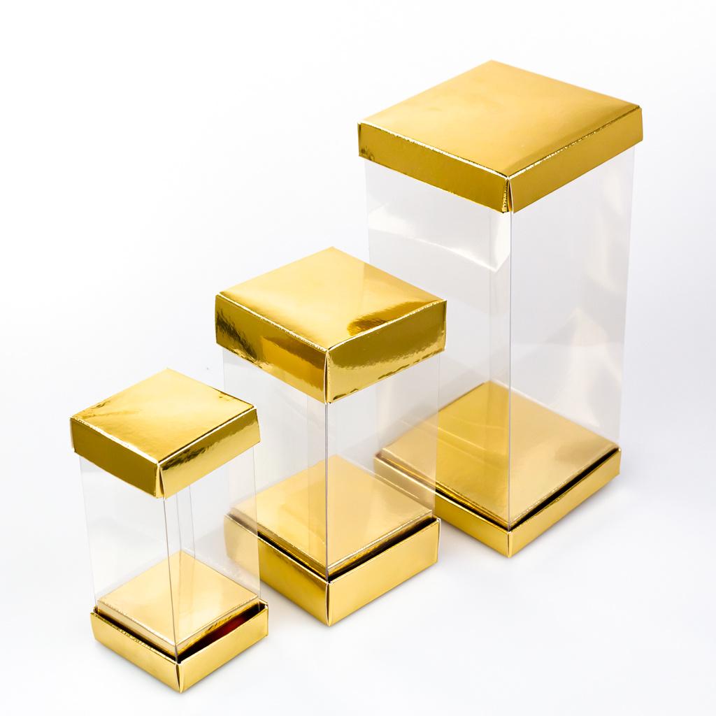 Caja alta transparante - Oro - 25 piezas