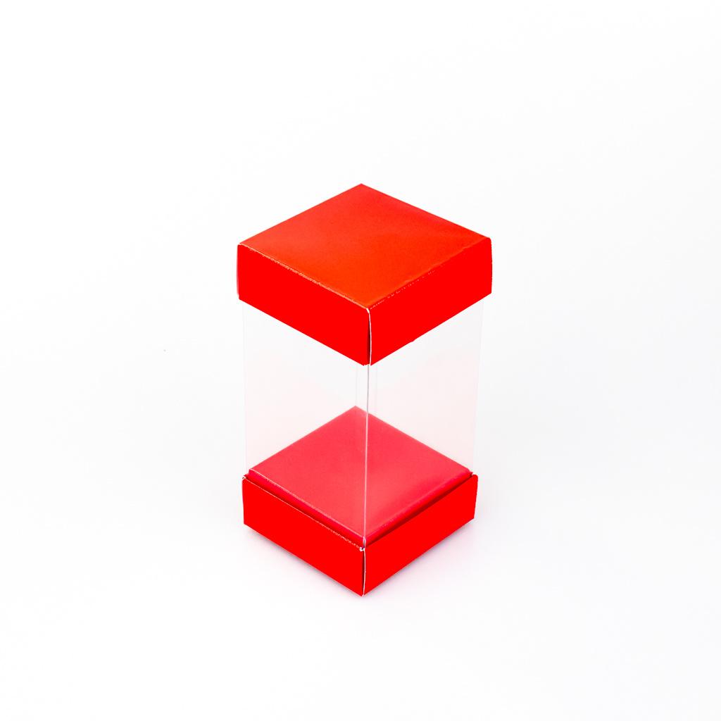 Boîte haute transparante - Rouge - 25 pièces