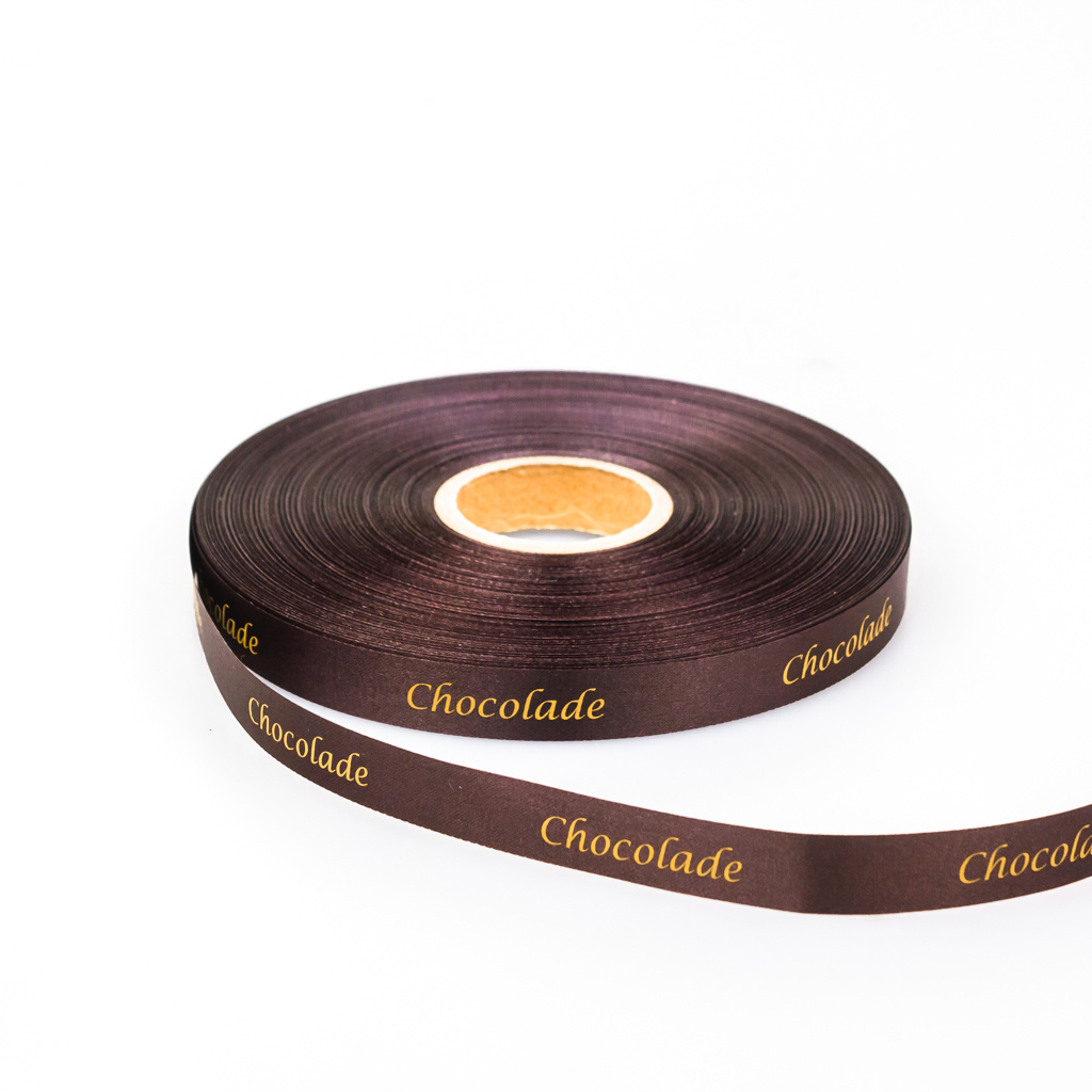 "Single satin ""Chocolade"" Band - Braun    - 15 mm - 100 m"