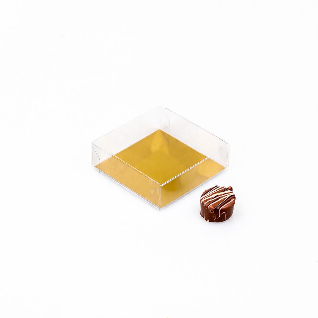 Transparant doosje met goudkarton - 80 * 80 * 30 mm - 100 stuks