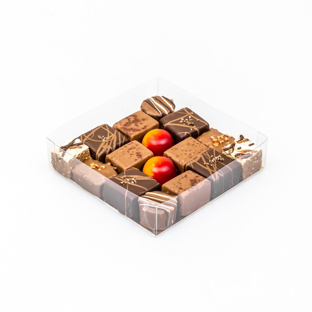 Transparant doosje met goudkarton - 120 * 120 * 30 mm  - 100 stuks