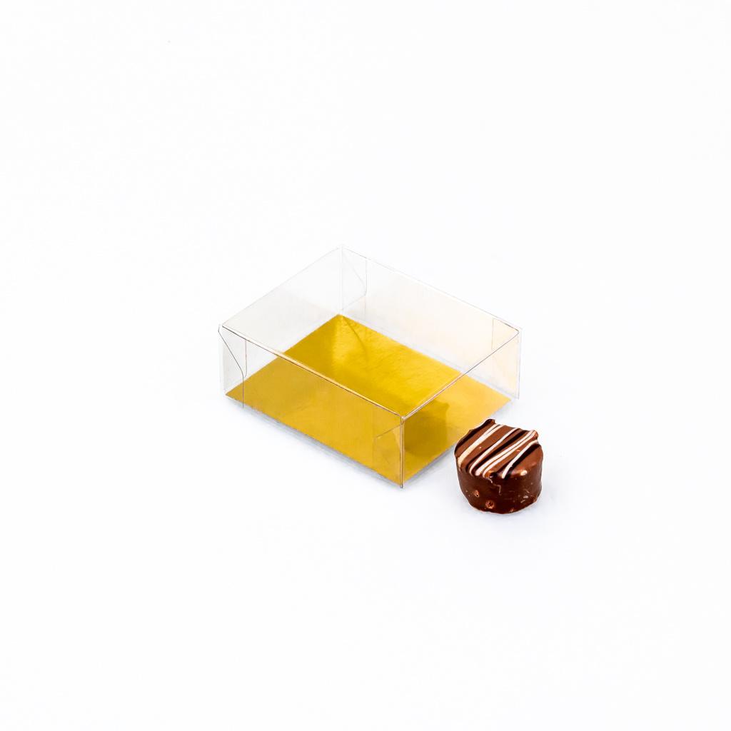 Transparanten Schachteln mit Gold Einsatz - 77 * 60 * 30 mm - 125 Stück