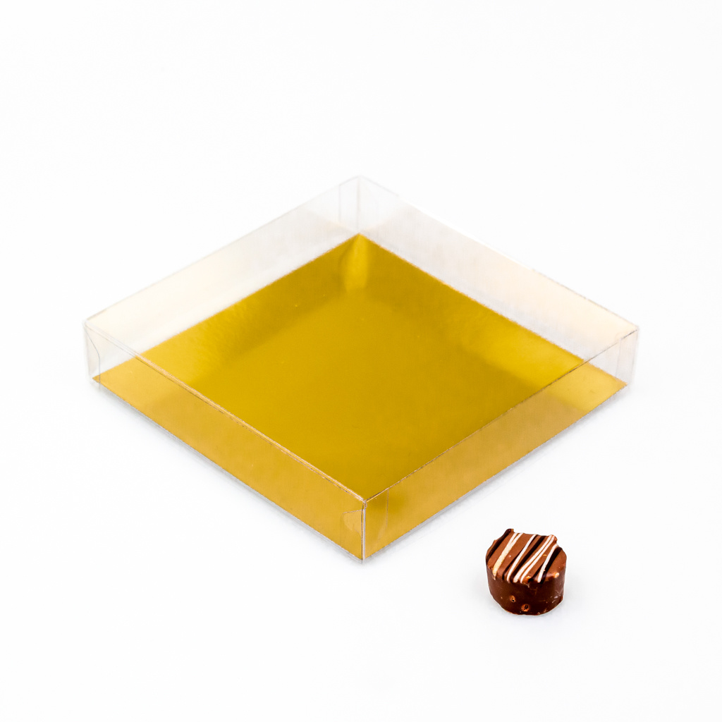 Transparant box with gold carton - 150 * 150 * 30 mm  - 50 pieces