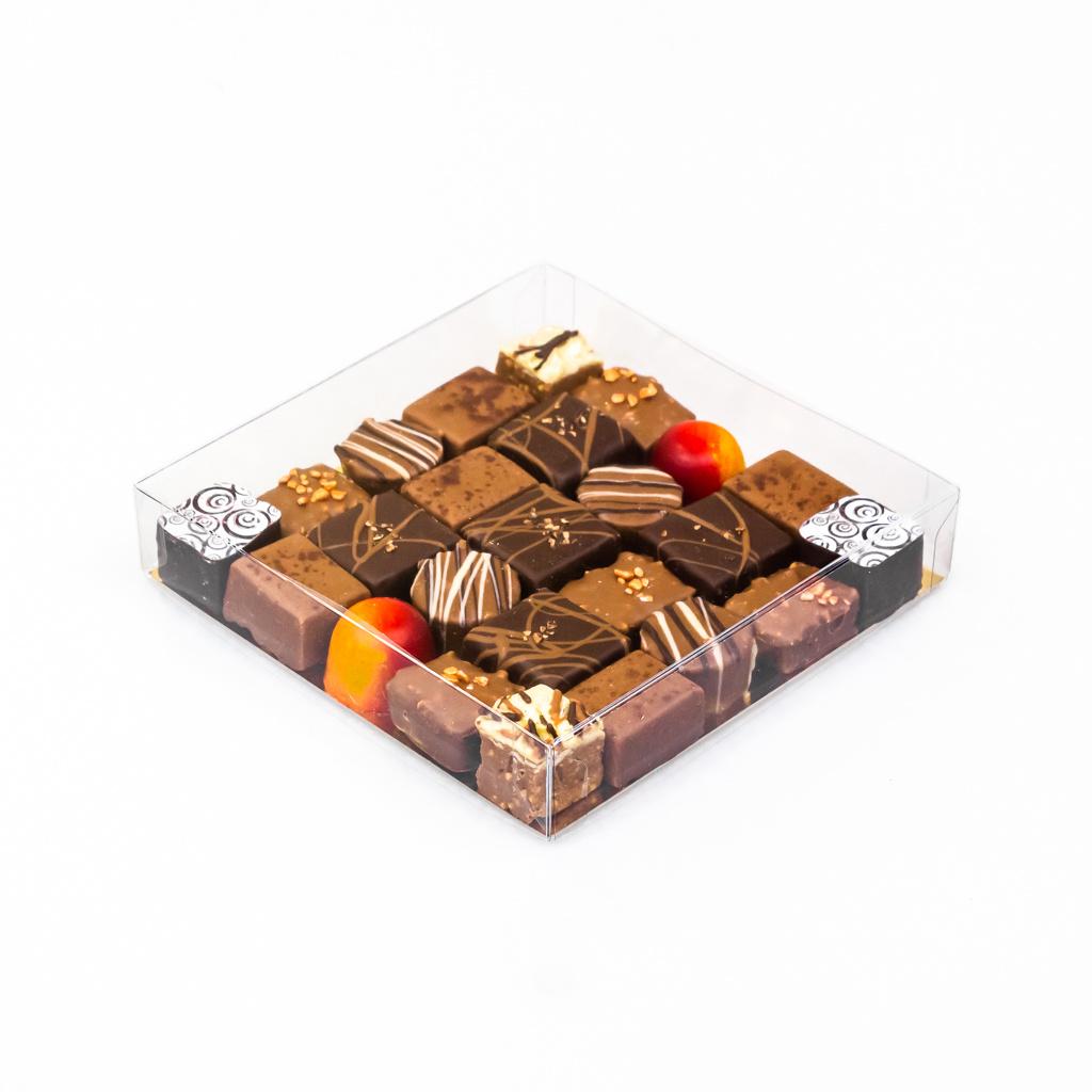 Transparanten Schachtel mit Goldkarton - 150 * 150 * 30 mm  - 50 Stück