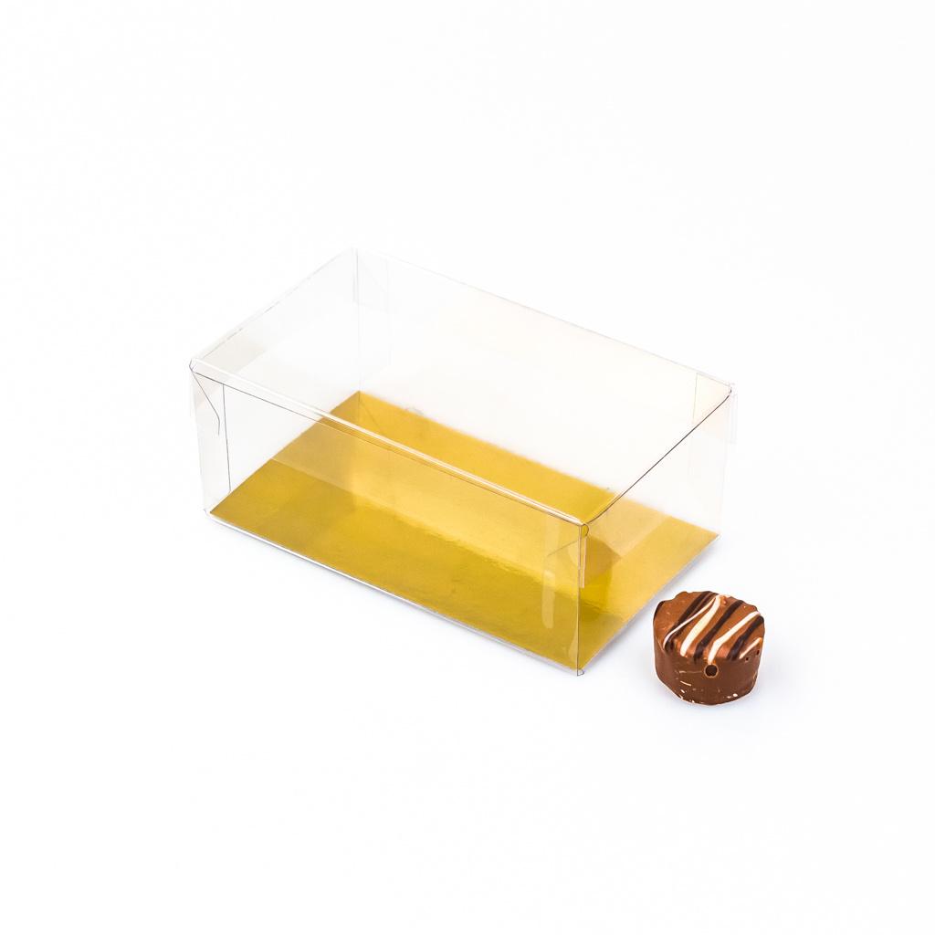 Transparant Boxes with gold carton - 12 * 7 * 5 cm - lid 2 cm high - 125 pieces