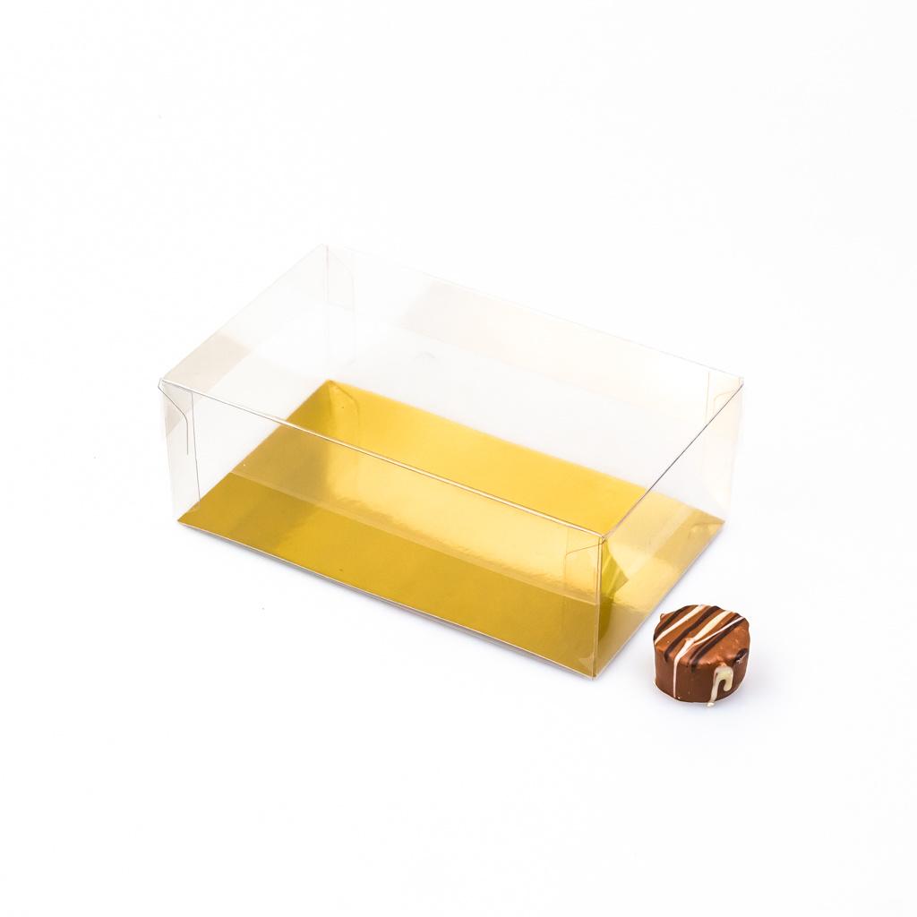 Transparanten Schachteln mit Gold Einsatz - 15 * 9 * 5,5 cm - 100 Stück