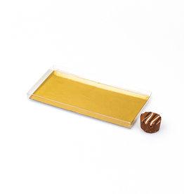 Transparente Tablettenbox mit Silber/Goldkarton