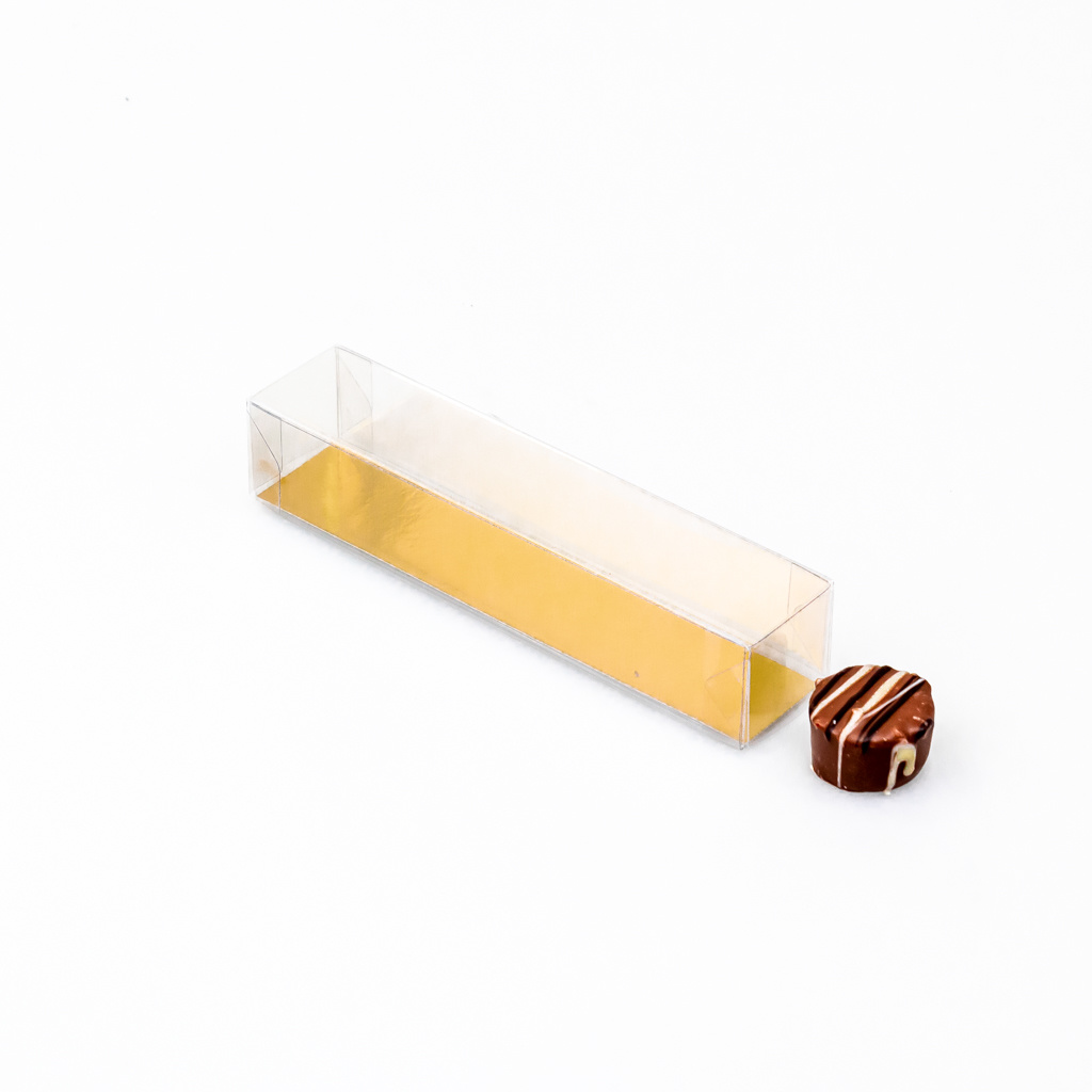 Transparant box with golden inlay for 5 truffels - 150*30*30mm - 100 pieces