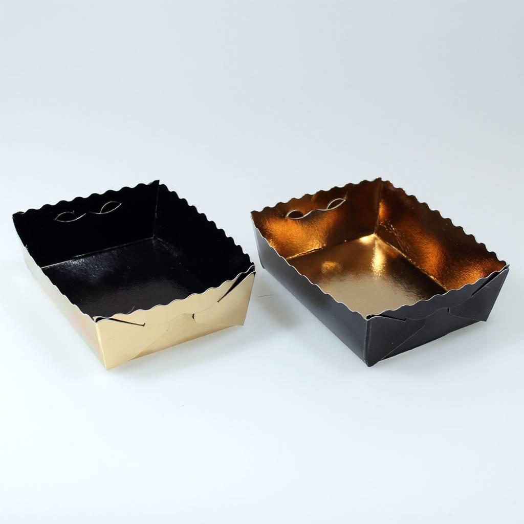 Dessertkorfjes goud/zwart - 50 stuks