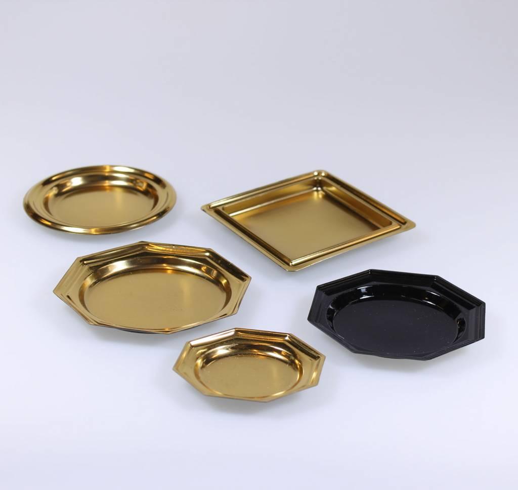 Plastik Gebäckteller, Gold und Schwarz