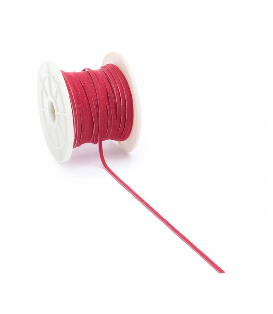 Suèdine cord - Red - 3 mm - 20 meter