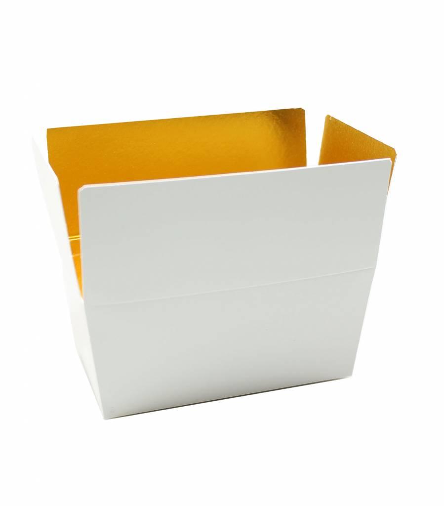 Ballotin blanco brillo/oro - 100 unidades