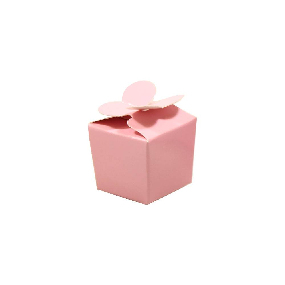 Mini ballotin for 1 chocolate - pink - 30*30*30 mm - 100 pieces