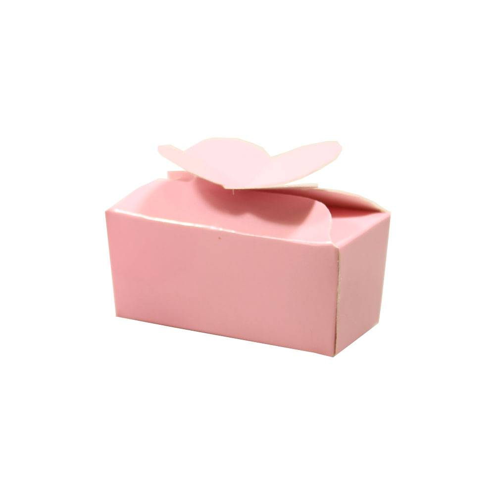 Mini ballotin für 2 Pralinen - rose - 65 * 30 * 30mm  - 100 Stück