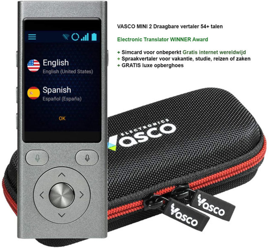Vasco 2 - Pocket MINI vertaalcomputer  + Gratis Internet