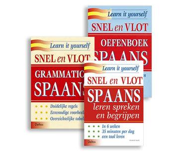 Deltas Snel en Vlot Spaans leren  - 3 Boeken + Grammatica + Oefenboek