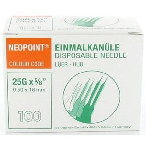 Neopoint naalden 0,5 x 16 mm doos 100 st. (orange)