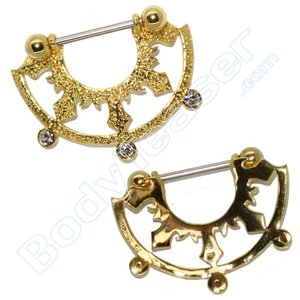 Nipple Piercing Jewelery, Half Shield, Gold on 925 Silver