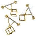 """Tepelpiercing """"3D Kubus"""", goud op zilver"""