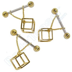 Nipple Piercing Jewelery 3D Cube, Gold on 925 Silver
