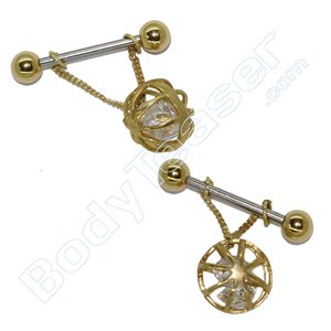 Nipple Piercing Jewelery 12, Crystal Ball, Gold on 925 Silver
