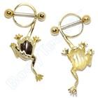 """Nippel Piercing """"Frosch"""", Gold auf Silber"""