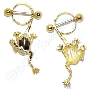 Nipple Piercing Jewelery 14, Frog, Gold on 925 Silver