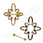 """Nippel Schild """"Blume"""", Gold auf Silber"""