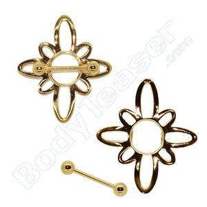 Nipple Piercing Jewelery, Flower Shield, Gold on 925 Silver