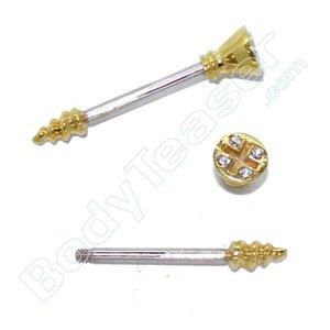 "Nipple Piercing ""Screw"" Gold on 925 Silver"