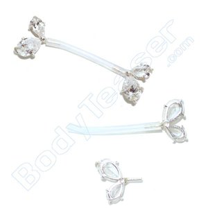 Nipple Piercing Jewelery double Crystal, 925 Silver - PTFE