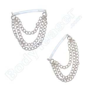 Nipple Piercing Jewelery tripple Chains, 925 Silver - PTFE