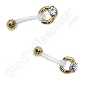 Intiempiercing sieraad Ringetje met kristalletje, Chirurgisch staal